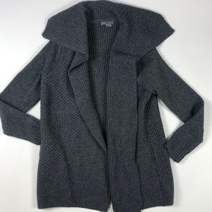 Vince Yak Wool Grey Ribbed Cardigan Sweater